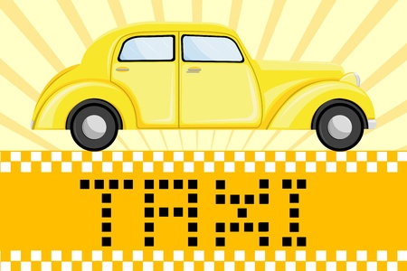 fare: illustration of car on taxi symbol background Illustration
