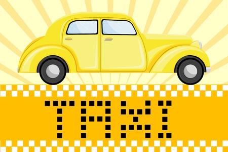 hire: illustration of car on taxi symbol background Illustration