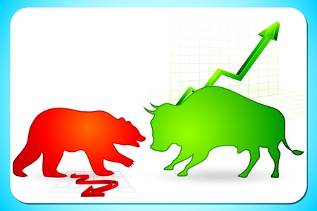 bearish market: illustration of bull and bear on graph showing bullish and bearish market