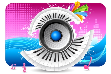 illustration of loudspeaker with piano keypad on abstract musical background Vector