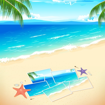 illustration of pieces of photograph on sea beach Vector
