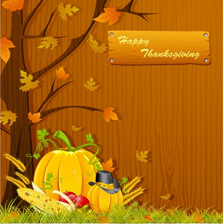 fall background: illustration of autumn tree with pumpkin for thanksgiving Illustration