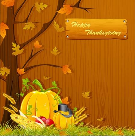 ilustracja drzewa jesieniÄ… z dyni do dziÄ™kczynienia
