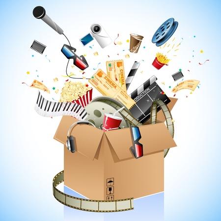 illustration de entetrainment et le cinéma poping objet hors de la boîte en carton