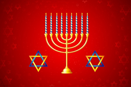 judaica: illustration of burning candle in Hanukkah Menorah with star of david