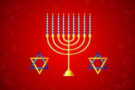 shabat: ilustración de la vela encendida en Hanukkah Menorah con la estrella de david Vectores