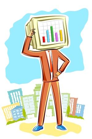 staaf diagram: illustratie van het denken business man met staafdiagram in de computer het hoofd