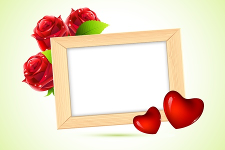 romantic picture: illustration of wooden photo frame with heart and rose