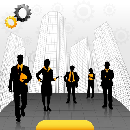 illustration of business people standing on office building backdrop Vector
