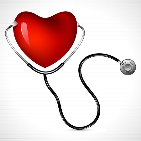 doctor examine: illustration of stethoscope on heart on abstract background Illustration