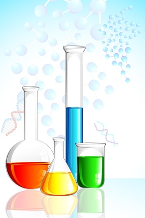 specimen: illustration of laboratory glassware on background with molecule Stock Photo