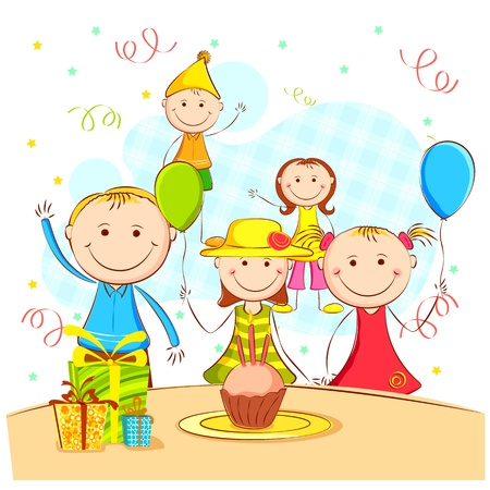 illustration of kids celebrating party with cake and birthday cap Vector