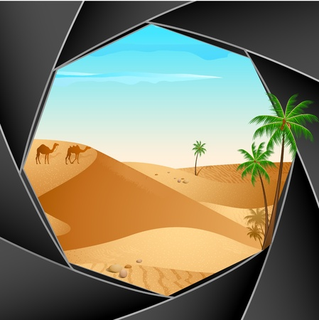 illustration of desert scene through shutter of camera Stock Illustration - 10552055