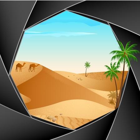 illustration of desert scene through shutter of camera Stock Illustration - 10552055