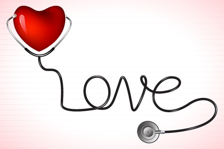 stethescope: illustration of stethoscope on heart with love text Illustration