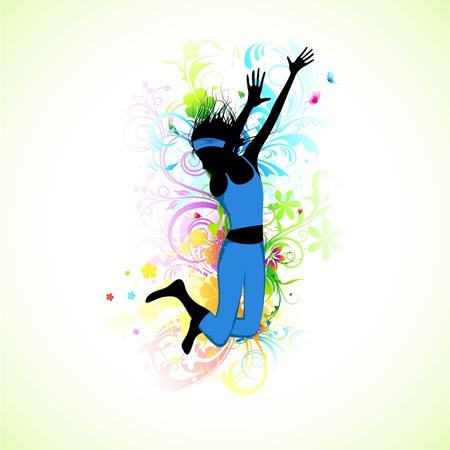 hip hop dance pose: ilustraci�n de la bailarina en el resumen de antecedentes grunge Vectores