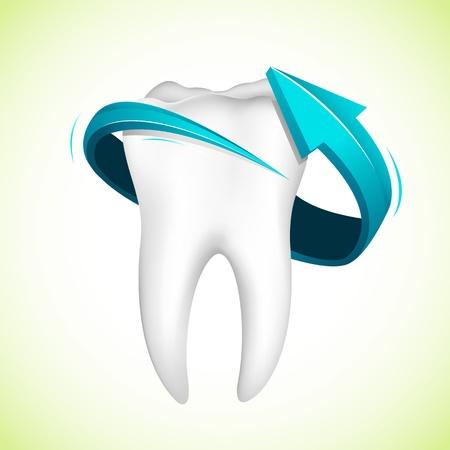 odontologia: Ilustración de flecha alrededor de diente sobre fondo abstracto