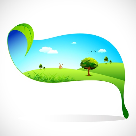 rural scene: illustration of ecofriendly landscape on leaf on abstract background