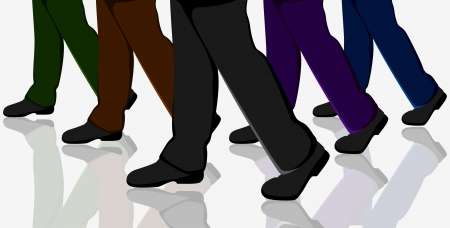 business shoes: illustration of business people walking in crowd on road