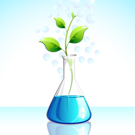 a solution tube: illustration of plant growing in laboratory apparatus Illustration