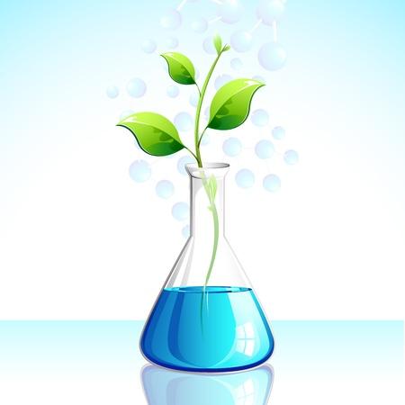 ilustración de la planta que crece en aparatos de laboratorio