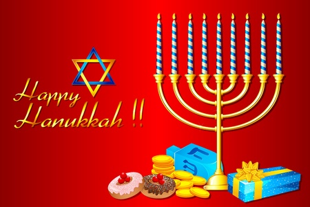 shabat: Ilustración de quemar velas de Jánuca menorá con regalos