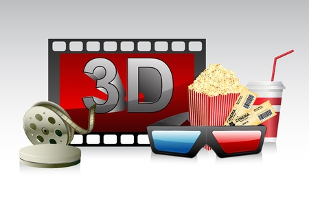 illustration of 3d glasses with film stripe and pop corn Vector