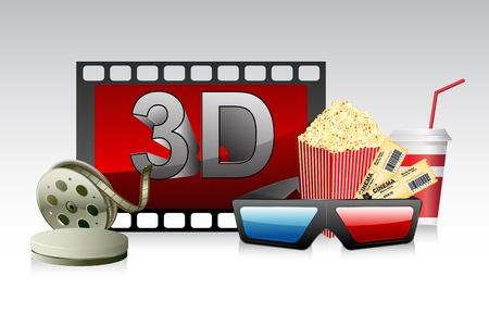 board of director: illustrazione di occhiali 3d con mais striscia e pop film Vettoriali
