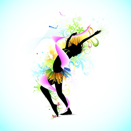 flexible girl: illustration of female dancing on abstract floral grungy background Illustration