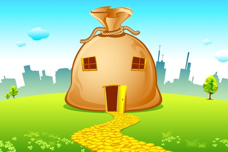 illustration of money bag house with road made of coin