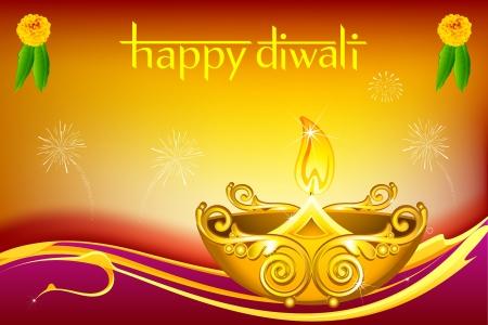 illustration of burning diwali  diya on floral background Vector