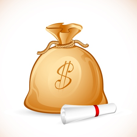 millionaire: illustration of money bag with scroll agreement paper Illustration