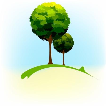 illustration of green tree in natural landscape Stock Vector - 10596348