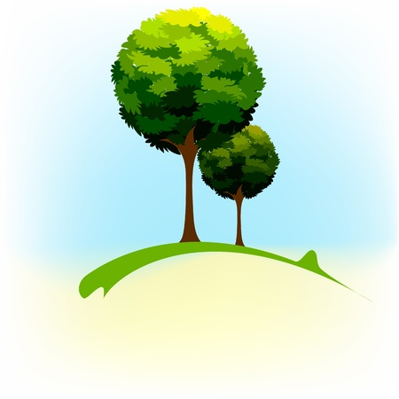 tall tree: illustration of green tree in natural landscape