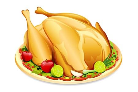 illustration of roasted holiday turkey on platter with garnish illustration