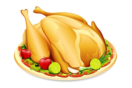 illustration of roasted holiday turkey on platter with garnish illustration
