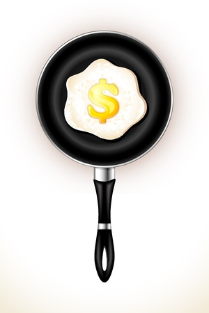 illustration of fried egg with dollar yolk in frying pan Vector