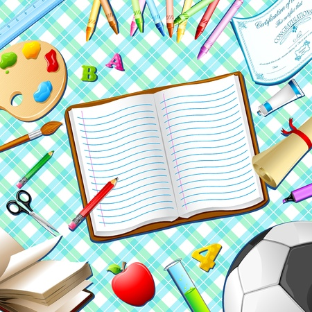 school table: illustration of book,pen,pencil and other stationery on table