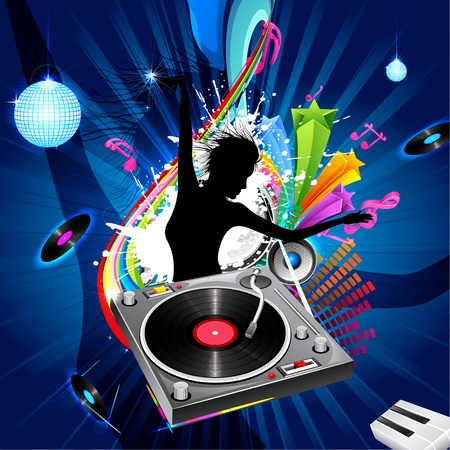 turntables: illustration of lady disco jockey on abstract musical background Illustration