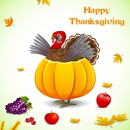illustration of turkey in pumpkin with fruit for thanksgiving Vector