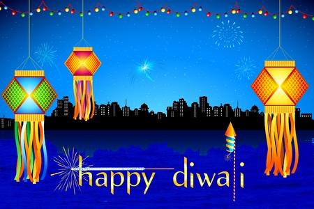 diya: Ilustraci�n de colgar la linterna con fuegos artificiales en la noche de diwali