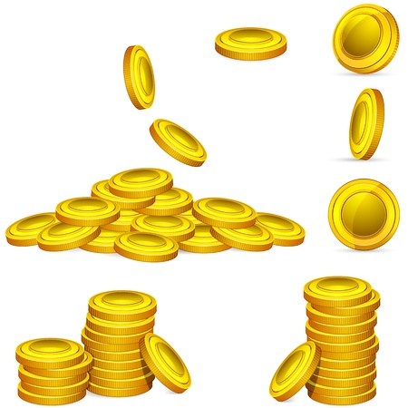 illustration of collection of golden coin in different style Stock Vector - 10668455