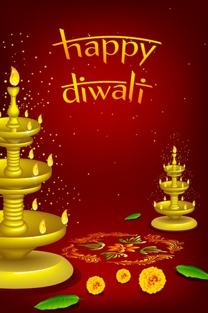 flower lamp: illustration of diwali diya stand with rangoli decoration Illustration