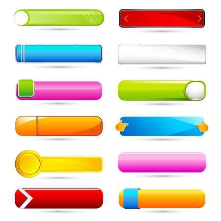klik: illustratie van set van kleurrijke glanzend knop op een witte achtergrond