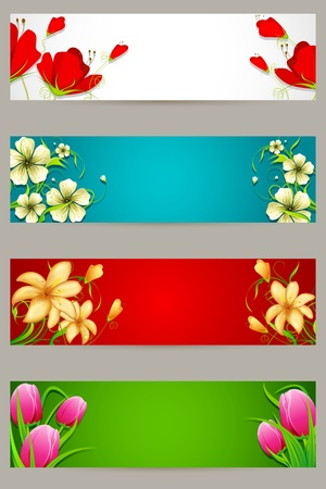illustration of set of colorful banner with floral design Vector