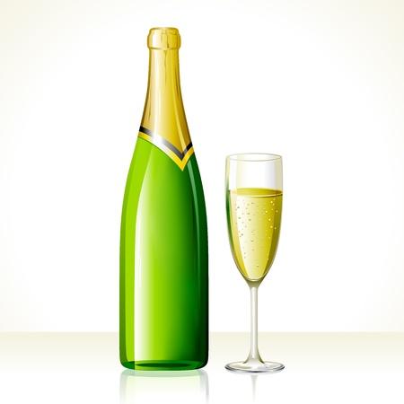 botella de licor: ilustración de la copa de champán y una botella en fondo abstracto Vectores