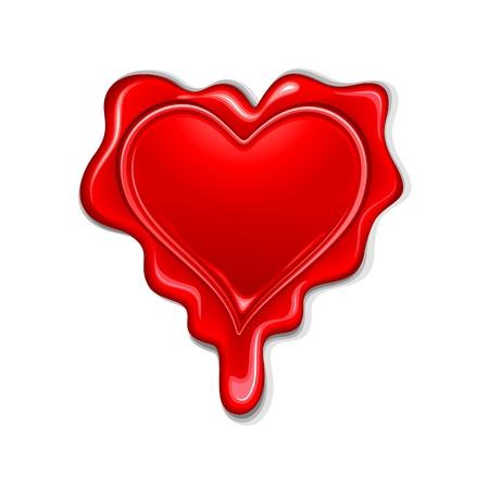 secret love: ilustraci�n del sello de cera en forma de coraz�n sobre fondo blanco Vectores