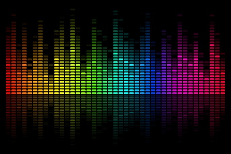 electronic music: illustration of colorful musical bar on black background