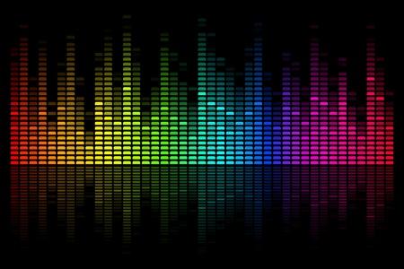 Ilustración de coloridos bar musical sobre fondo negro