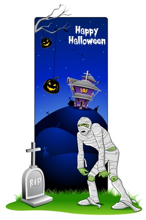 churchyard: illustration of mummy walking in front of grave in halloween card Illustration